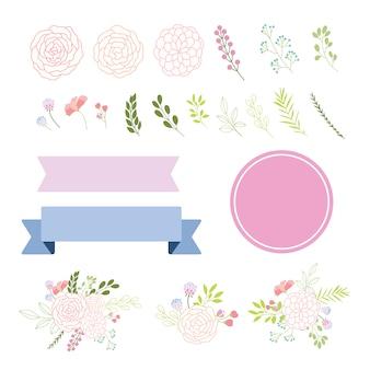 Coleção de elementos decorativos florais
