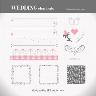 Coleção de elementos do casamento em cores pastel