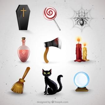Coleção de elementos do dia das bruxas assustador