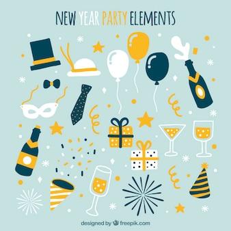 Coleção de elementos do partido desenhados à mão para o ano novo