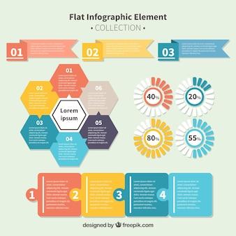 Coleção de elementos infográficos planos