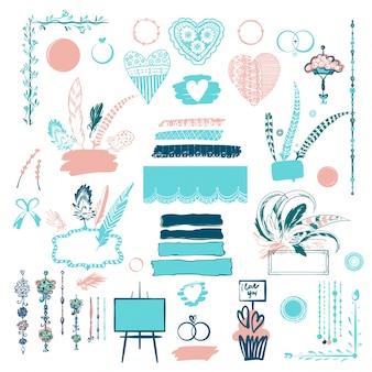 Coleção de elementos ornamentais de casamento