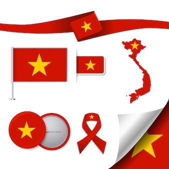 Coleção de elementos representativos do Vietnã