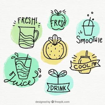 Coleção de emblemas de suco de frutas em estilo desenhado à mão