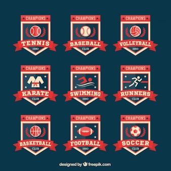Coleção de emblemas retro do esporte