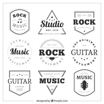 Coleção de emblemas retros da música