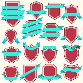 Coleção de escudos e fitas de estilo plano