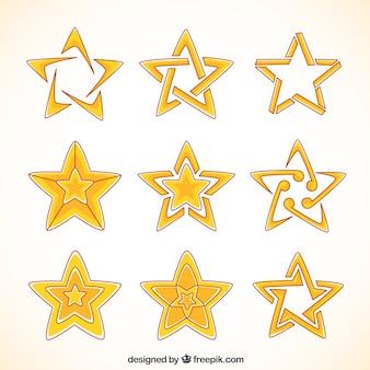 Coleção de estrelas desenhados à mão com desenhos abstratos