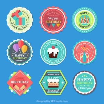 Coleção de etiqueta aniversário colorido
