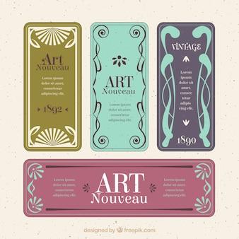 Coleção de etiqueta art nouveau