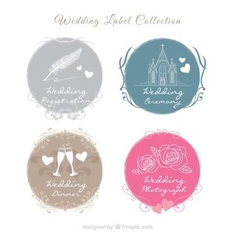 Coleção de etiquetas bonito do casamento
