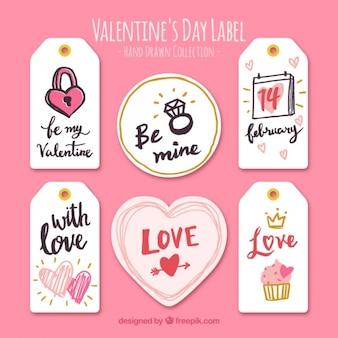 Coleção de etiquetas com desenhos valentine