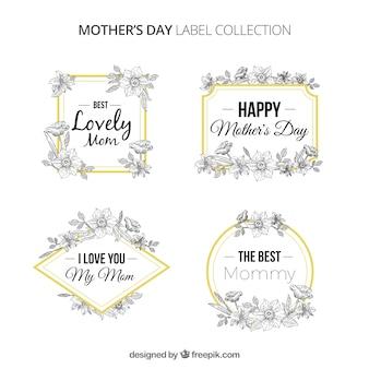 Coleção de etiquetas da mãe Floral dia