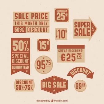 Coleção de etiquetas de preço em tons marrons