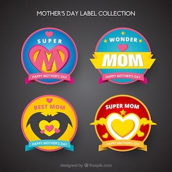 coleção de etiquetas de super-heróis mãe dia