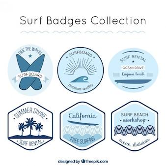 coleção de etiquetas de surf bonito