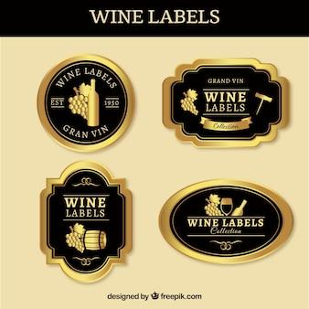 Coleção de etiquetas do vinho do ouro