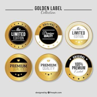Coleção de etiquetas douradas de edição limitada