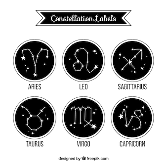 Coleção de etiquetas pretas arredondadas com constelações
