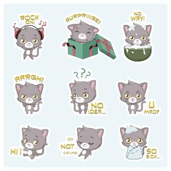 Coleção de expressões de gato