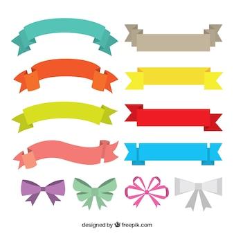 Coleção de fitas coloridas e arcos