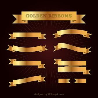 Coleção de fitas douradas