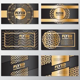 Coleção de flyers dourados