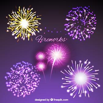 Coleção de fogos de artifício brilhantes