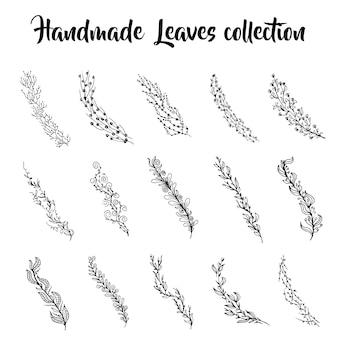 Coleção de folhas desenhadas à mão