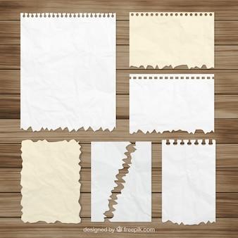 Coleção de folhas do bloco de notas amassadas