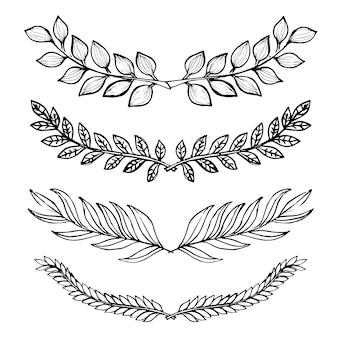 Coleção de folhas preto e branco desenhadas à mão