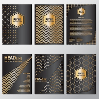 Coleção de folhetos de ouro e preto