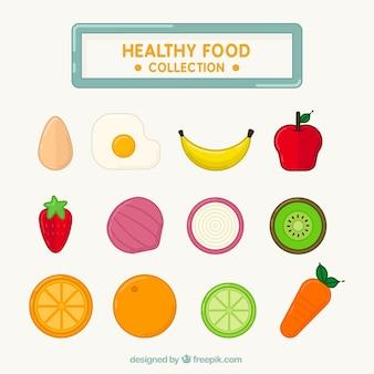 Coleção de frutas e vegetais saudáveis