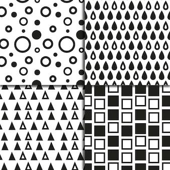 Coleção de fundo de padrão de formas geométricas preto e branco