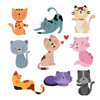 Coleção de gatos sorrindo