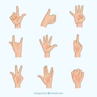Coleção de gestos de mão humanos