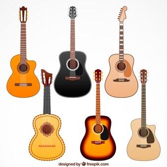 Coleção de guitarra de madeira
