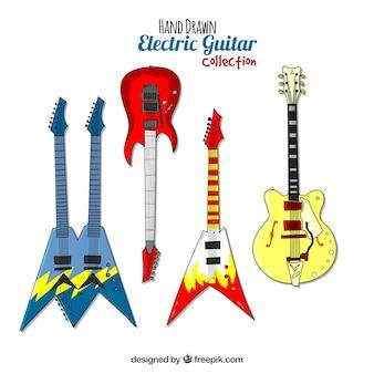 Coleção de guitarra elétrica desenhada a mão
