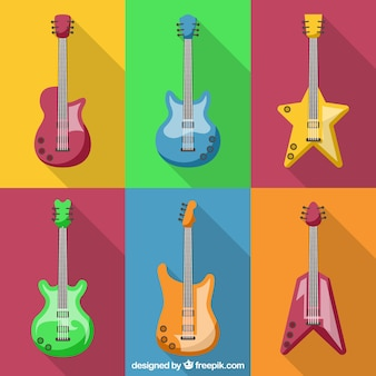 Coleção de guitarras de diferentes formas