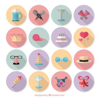 Coleção de ícones coloridos do aniversário