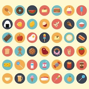 Coleção de ícones de alimentos e lanches