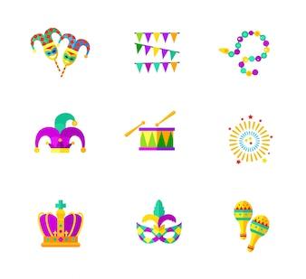 Coleção de ícones de carnaval