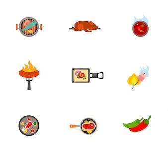 Coleção de ícones de churrasco