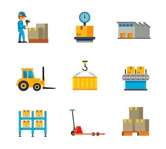 Coleção de ícones de fábrica