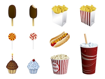 Coleção de ícones de fast food