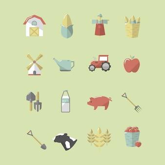 Coleção de ícones de fazenda