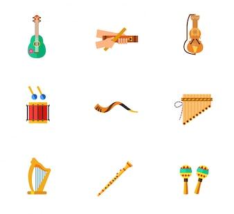 Coleção de ícones de instrumentos de música