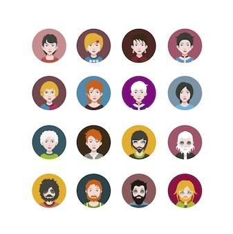 Coleção de ícones de personagens aleatórios