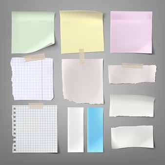 Coleção de ilustrações de vetores notas de papel de vários tipos