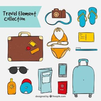 Coleção de ilustrações de viagens desenhadas a mão